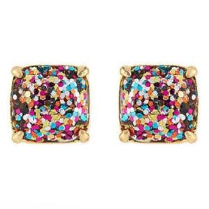 KATE SPADE Multi Glitter Square Stud Earrings
